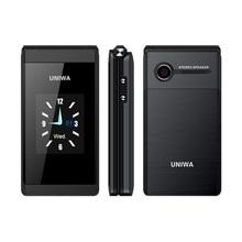 UNIWA X28 2G GSM Flip telefon 2.8 inç kapaklı 1200mAh cep telefonu mobil telefon çift SIM kart büyük yazı büyük düğme yaşlı telefon