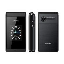 Uniwa X28 2グラムgsmフリップ電話2.8インチクラムシェル1200mah携帯電話携帯電話デュアルsimカードビッグフォントビッグボタン高齢者の携帯電話