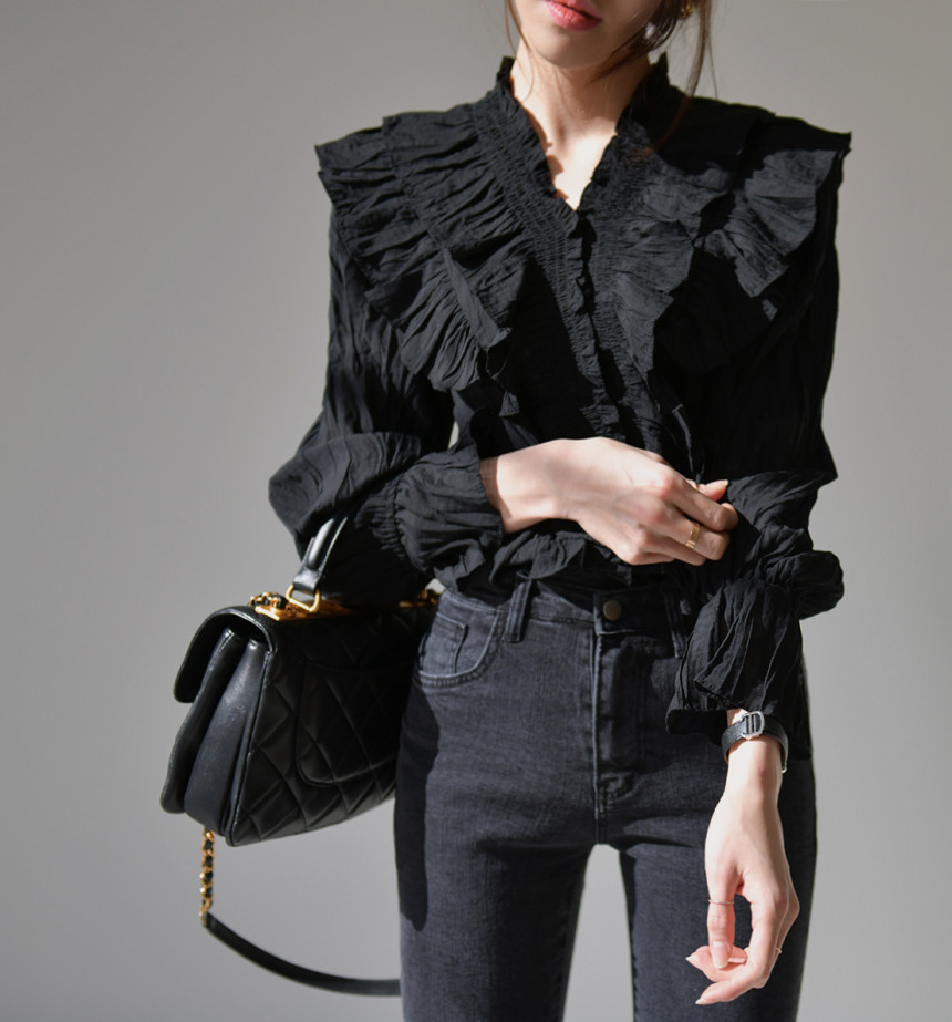 H6ea96d85f694487cbbff6b862b370f7aa - Spring / Autumn V-Neck Long Sleeves Ruffles Pleated Solid Blouse