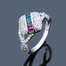Luxury Female Square Colorful Zircon Ring Fashion Silver Yel