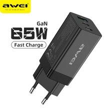 Awei 65W GaN Charger ประเภท C PD USB Charger Fast Charger EU Plug QC 4.0 3.0 Quick Charge สำหรับ iPhone Huawei อะแดปเตอร์ PD9
