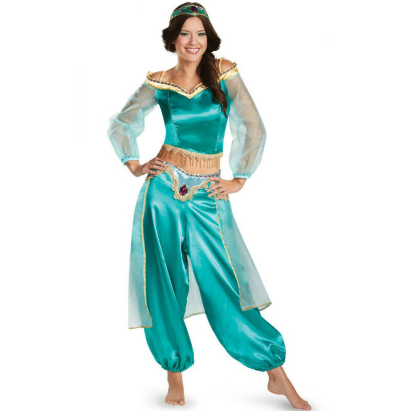 Women Costume Aladdin Magic Lamp Princess Jasmine Adult Cosplay Costume Female High Quality Party Costume