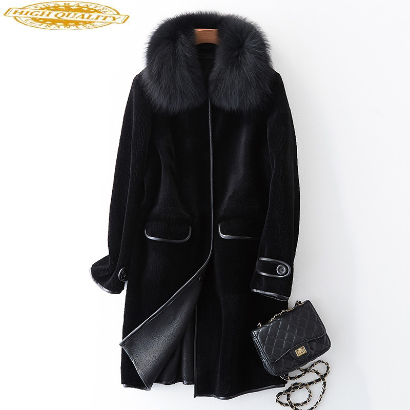 2020 Women's Fur Coat With Natural Fox Fur Collar Real Sheep Shearing Fur Coats Winter Warm Wool Jackets PU Liner WYQ973