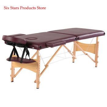 "84"" 2 Sections Folding Portable Beech Leg Beauty Massage Table 60CM Wide Adjustable Height Wine Red For Beauty Salon"