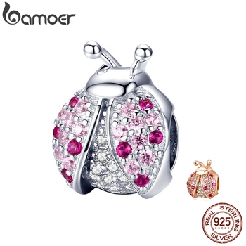 BAMOER New Arrival 925 Sterling Silver Ladybug Pink Cubic Zircon Insect Charms Beads fit for Bracelets DIY Jewelry SCC1120 - discount item  30% OFF Fine Jewelry