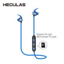 Heculas Bluetooth Sport Earphone Support TF Card Wireless Stereo Earbuds Magnetic Earpieces With Mic For Phone