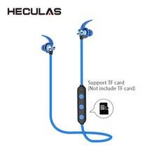 Heculas Bluetooth Sport Oortelefoon Ondersteuning Tf kaart Draadloze Stereo Oordopjes Magnetische Oortjes Met Microfoon Voor Telefoon