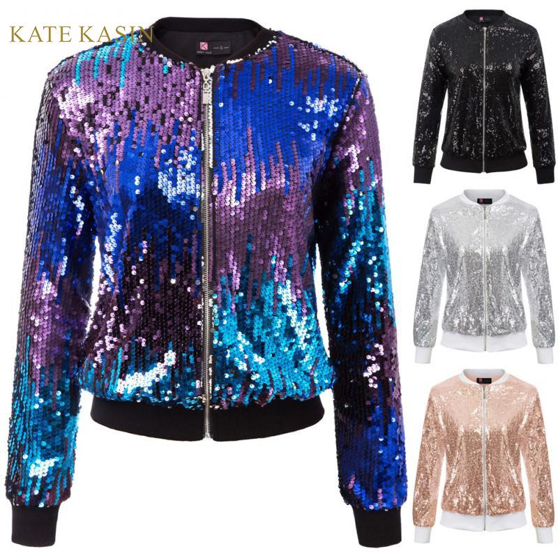 Kate Kasin Women Sequin Jacket Coat Long Sleeve Zipper Sparkling Jacket Lady Casual Outwear Fashion Glitter Streetwear KC000097