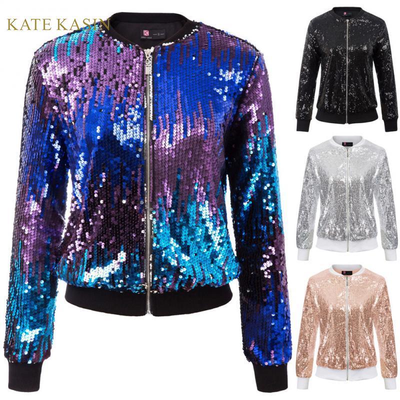 Kate Kasin Women Sequin Jacket Coat Long Sleeve Zipper Sparkling Jacket Lady Casual Outwear Fashion Glitter Streetwear KC000097