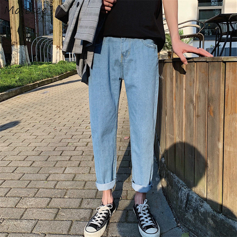 Jeans Men Plus Size Daily Simple Mens Korean Style Casual Straight Popular Schoolboy Classic Retro Denim Trousers Ulzzang Hot