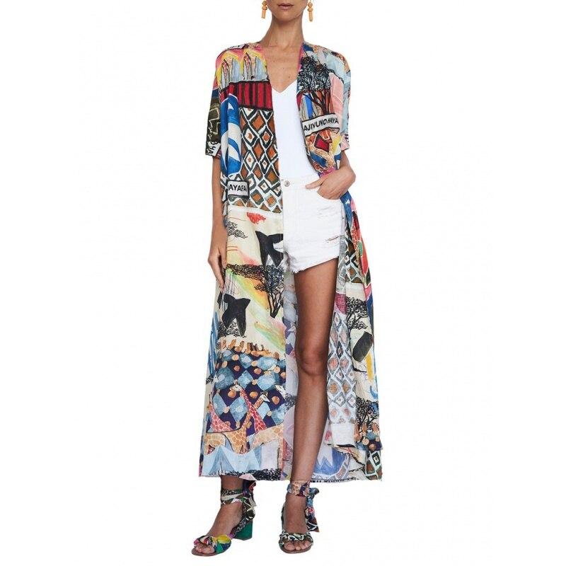 2020 Bohemian Printed Half Sleeve Summer Beach Wear Long Kimono Cardigan Cotton Tunic Women Tops Blouse Shirt Sarong Plage