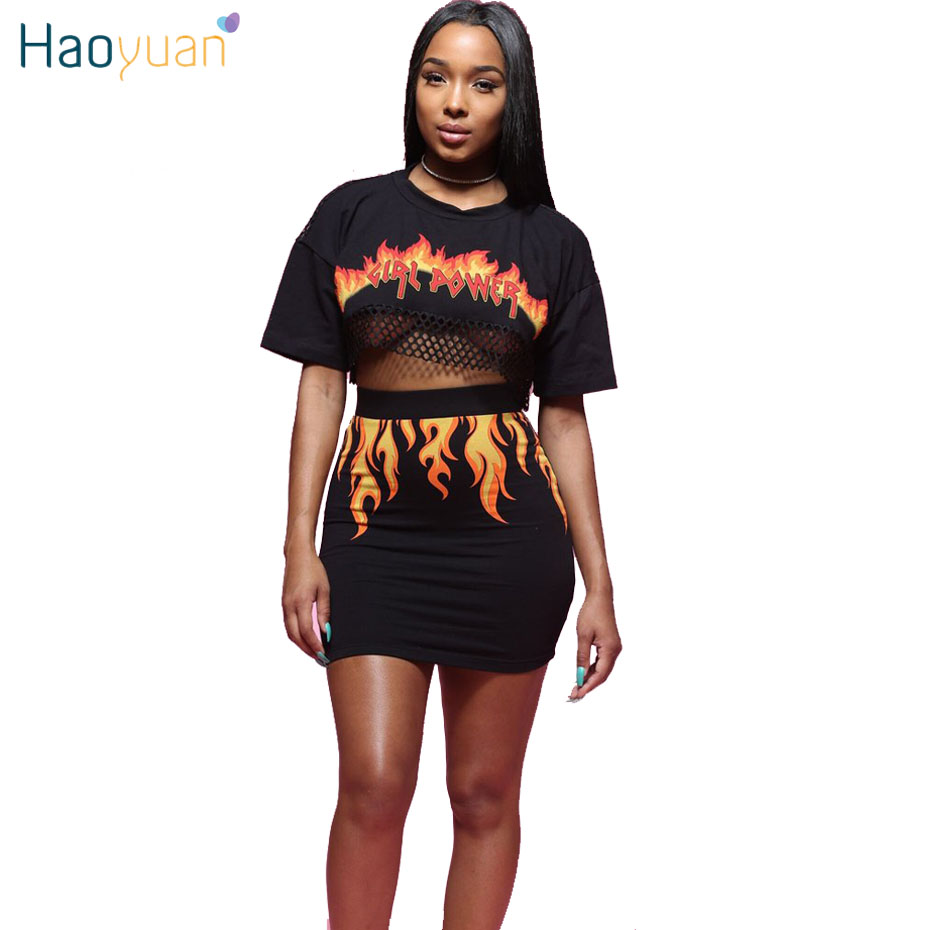 HAOYUAN 2 Piece Set Women Fire Flame Print Back See Through Sexy Mesh Crop Top Mini Skirt Club Outfit Two Piece Matching Sets