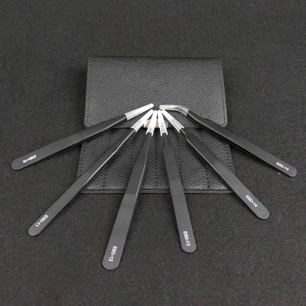 6 шт. Пинцет Набор обслуживания инструмент Ремесло нержавеющая сталь с сумкой для электроники ювелирных изделий многофункциональный антистатические