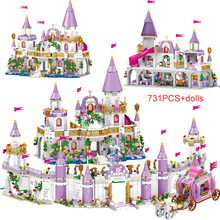 731 pièces princesse série château blocs de construction magique glace château briques compatibles filles amis jouets éducatifs pour les enfants