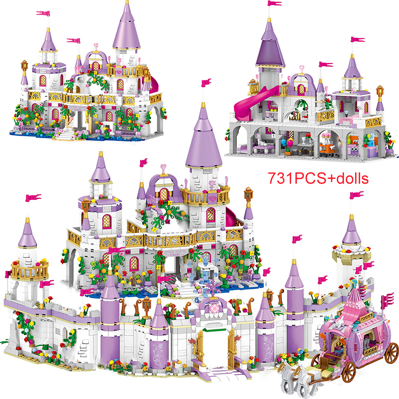 731PCS Princess Series Castle Building Blocks Magical Ice Castle Bricks Compatible Girls Friends Educational Toys For Children