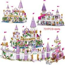 731pcs princesa série castelo blocos de construção, gelo mágico, tijolos compatíveis, meninas, amigos, brinquedos educativos para as crianças