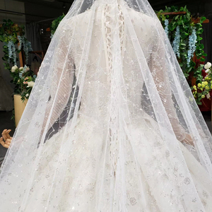Image 5 - HTL1000 Long Sleeves High Neck Wedding Dresses For Women Pearl Sequin Applique vestidos de noivas de luxo princesa 2020