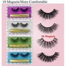 10 ímãs magnético cílios delineador magnético conjunto de kit, natural reusável cils magnetique impermeável longlasting,pestañas magnéticas