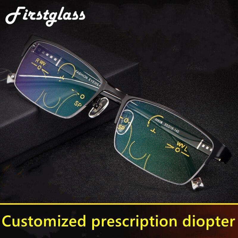 Progressive Reading Glasses Men Multifocal TR90 Customized Prescription Presbyopia Glasses Anti Blue Light Half Frame Black 175