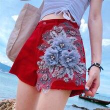 Летние Для женщин вышивка бусины, жемчужины широкие брюки кисточкой красные, черные Джинсовые шорты, Для женщин s 5xl женские джинсы с высокой талией шорты
