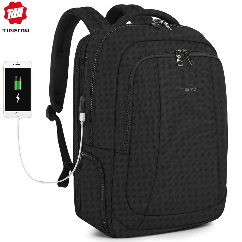 Tigernu 2019 New Fashion Travel 39L 17.3 Inch Large Capacity Laptop Backpacks Men Anti Theft Zippers Waterproof Male Schoolbags