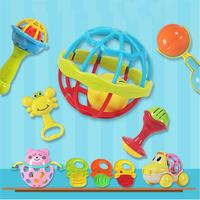 10 pcs Baby Toy Delicate Appease Toy Rattle Bell Cartoon Toy Plastic Toy Educational Toy for Baby Toddlers Newborn