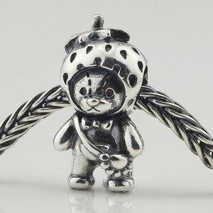 Image 3 - אמיתי 925 סטרלינג כסף תות דוב קסם חרוזים Fit מקורי מותג צמיד תכשיטי בציר חרוז להכנת תכשיטים