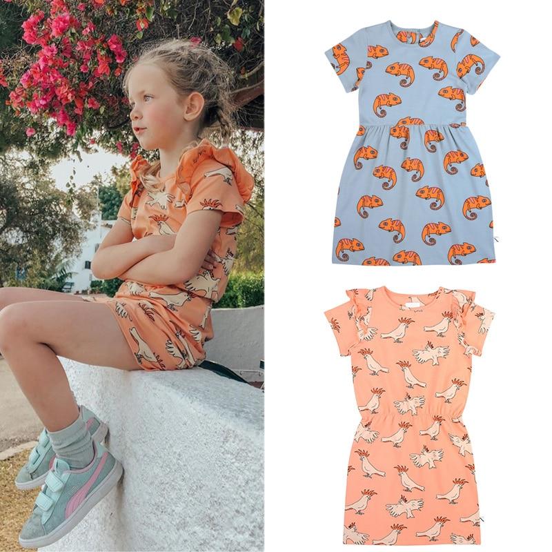 Kids Dresses 2020 CarlijnQ Brand New Summer Girls Cartoon Print Short Sleeve Dress Baby Child Cotton Fashion Outwear Clothes