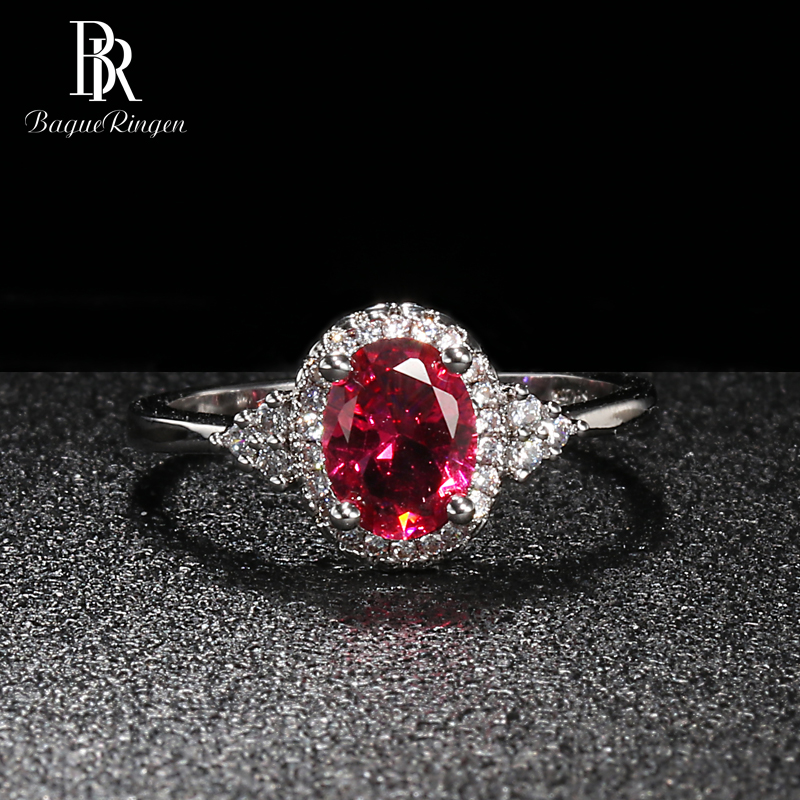 Bague Ringen Silver 925 Rings For Women Fine Jewelry With Gemstones Oval Ruby Zircon Fashion Anniversary Female Gift Wholesale