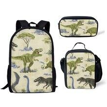 Дино школа рюкзак для детей 3шт школа сумки набор тираннозавр рекс динозавр школьный портфель дети начальная школа сумка мальчики