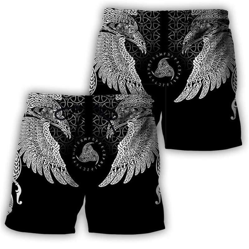 PLstar Cosmos 2020 New Summer Fashion Shorts Viking Symbol - Tattoo Raven 3D Printed Male/Female Streetwear Casual Cool Shorts