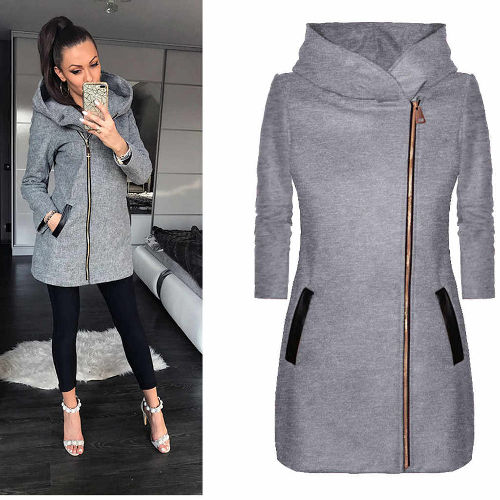 2019 New Autumn Winter Women Coat Casual Warm Coat Long Sleeve Zipper Hooded Vintage Retro Ladies Overcoat Plus Size 5xl#J30