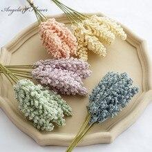 6pcs Artificial flower Vanilla cereal plants berry spike fake wheat bridal bouquet home garden decor wedding props foam lavender