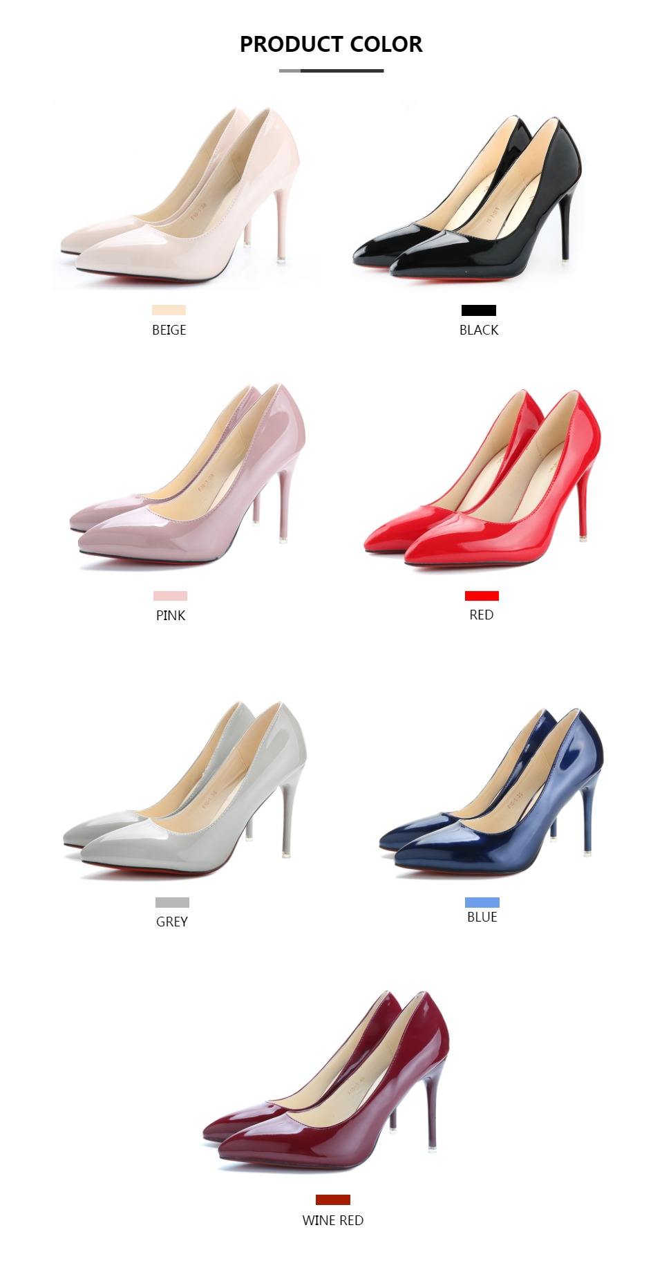 Ladies Shoes High Heels Patent Leather Classic Pumps Sexy Dress Prom Wedding Women PU Pointed Toe Beige Red Bottoms Shoes 1