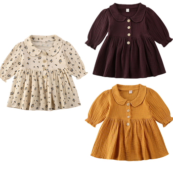 Toddler Kids Baby Girls Floral Dress Peter Pan Collar Print Party Long Sleeve Clothes 0-4Y