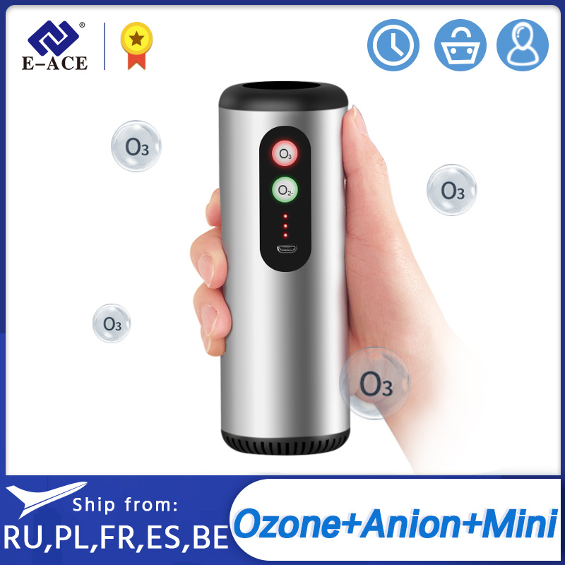 E-ACE M03 Car Air Purifier Anion Ozone Generator for Car Home Office with HEPA Filter Fresh Sterilize Air Cleaner