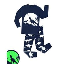 Pajamas Kids Sleepwear-Set Homewear Long-Sleeve Luminous-Dinosaur Girls Boys Children