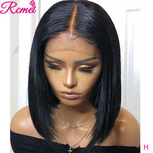 Wig Short Human-Hair-Wigs Lace Pre-Plucked Straight Women Brazilian Remy Bob 13x4