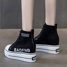 2021 Summer New Cotton High-Top Canvas Shoes Women's Thick Bottom Height Increasing Insole Versatile Casual Board Shoes