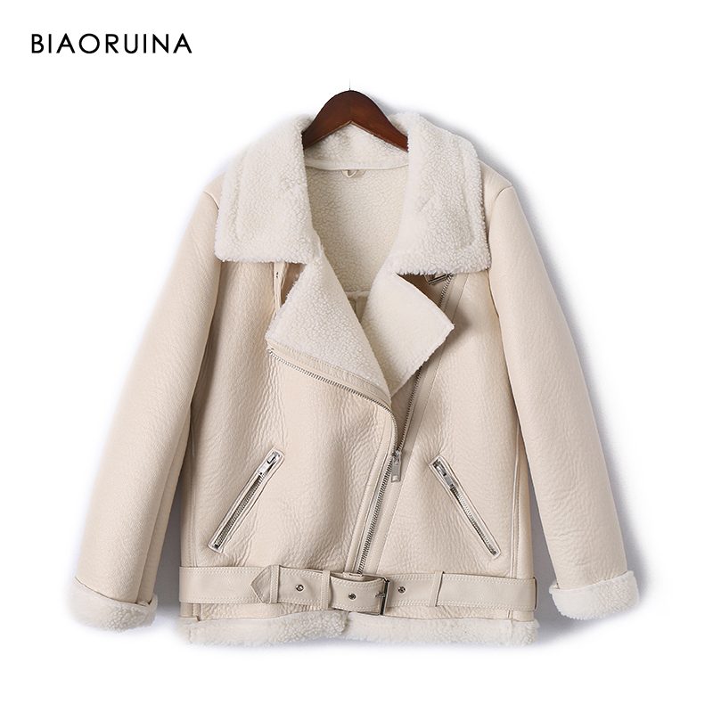 BIAORUINA Moto&Biker Style Women's Loose Faux   Leather   Patchwork Lamb Keep Warm Thick Jacket Coat Turn-down Collar with Belt