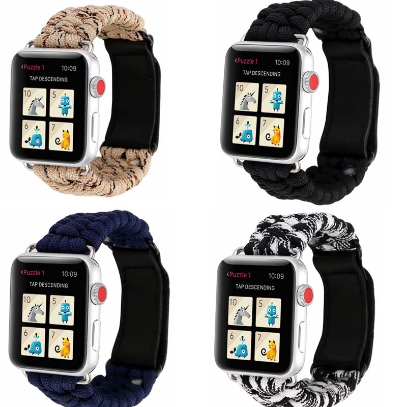 Paracord Survival For Apple Watch Bands 42mm/44mm Series 5 4 3 2 1  Nylon Rope Strap For Apple Watch Band 38mm 40mm