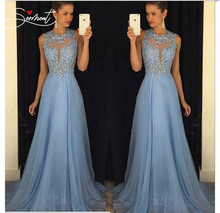 SERMENT Free Shipping 2019 Lace Embroidered Round Neck Chiffon Sleeveless Dress Hollow Open Back Evening Dress цены