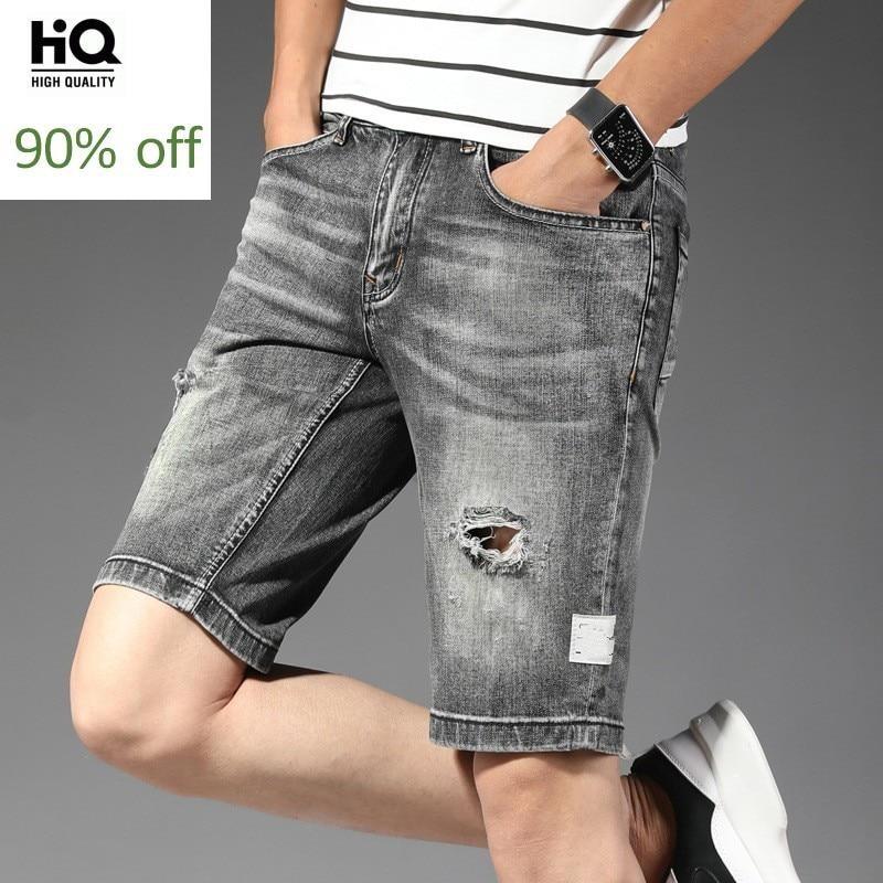 2020 Male Jeans Summer Korean Fashion Straight High Street Casual Biker Shorts Zipper Slim Hole Ripped Vintage Denim Trouser Man