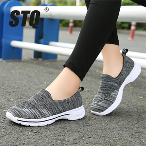Image 1 - STQ Autumn Women Flats Woven Shoes Breathable Mesh For Ladies Loafers Shoes Women Light Weight Casual Slip On Sneaker Shoes 1938