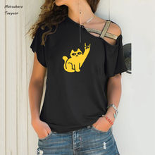 Cats like metal print shirts for women cotton casual summer
