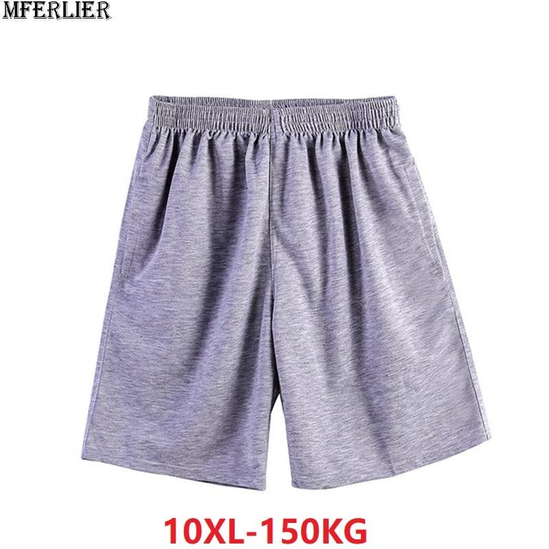 Large Size 6XL 8XL 10XL Summer Men Cotton Shorts Soprts Big Sales Cheap Comfortable Soft Oversize Loose Shorts 150KG Gray 66 68