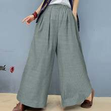 2021 Women Elastic Waist Stripes Pants ZANZEA Casual Wide Leg Trouser Vintage Pinstripe Overalls Maxi Pantalon Palazzo Plus Size