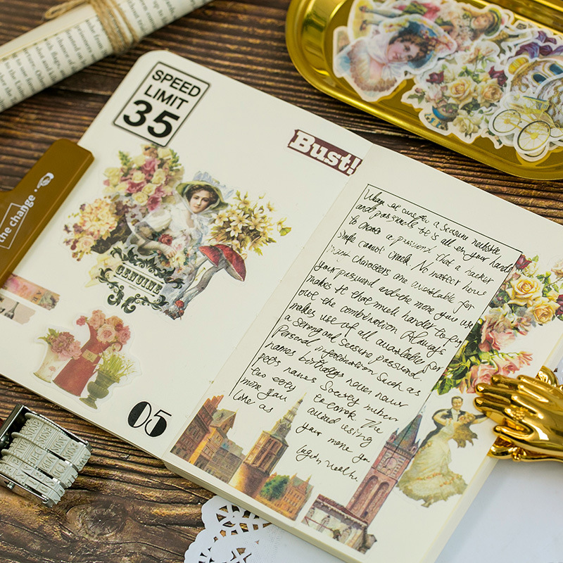 60Pcs/Set Japanese Decorative Flower Floral Diary Journal Vintage Paper Scrapbooking Label Stickers Bag School Office Stationery