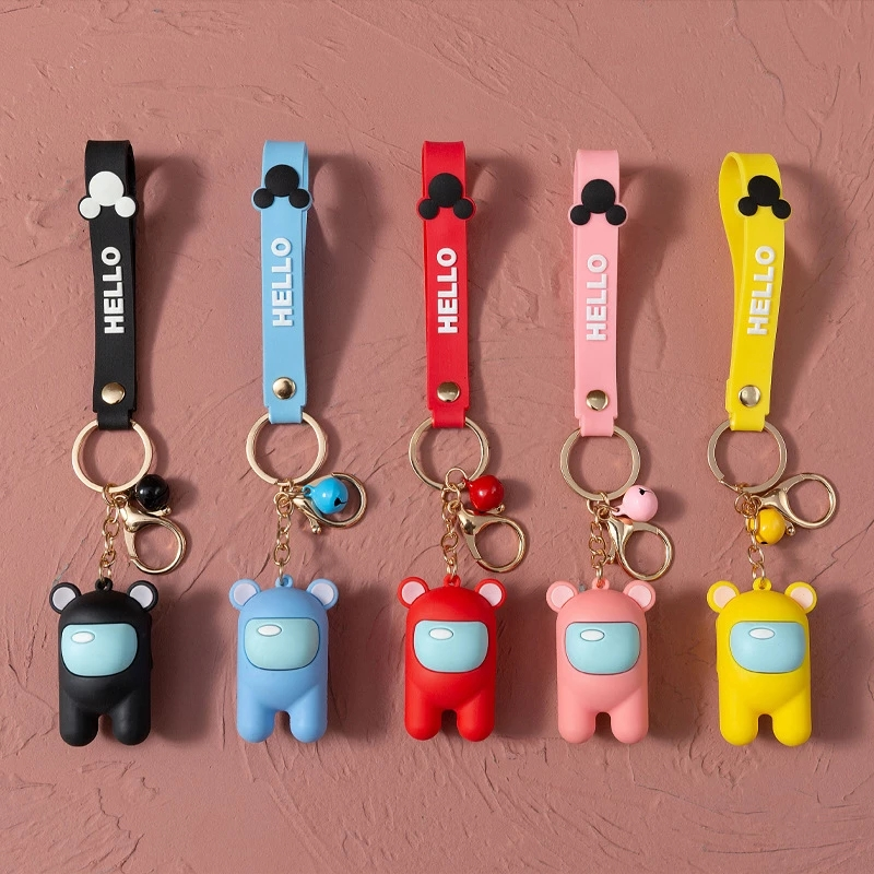 New Anime Among us Game Figure toy Cartoon Keychain Car Keys Decoration Accessories lovely Pendant Christmas Gift