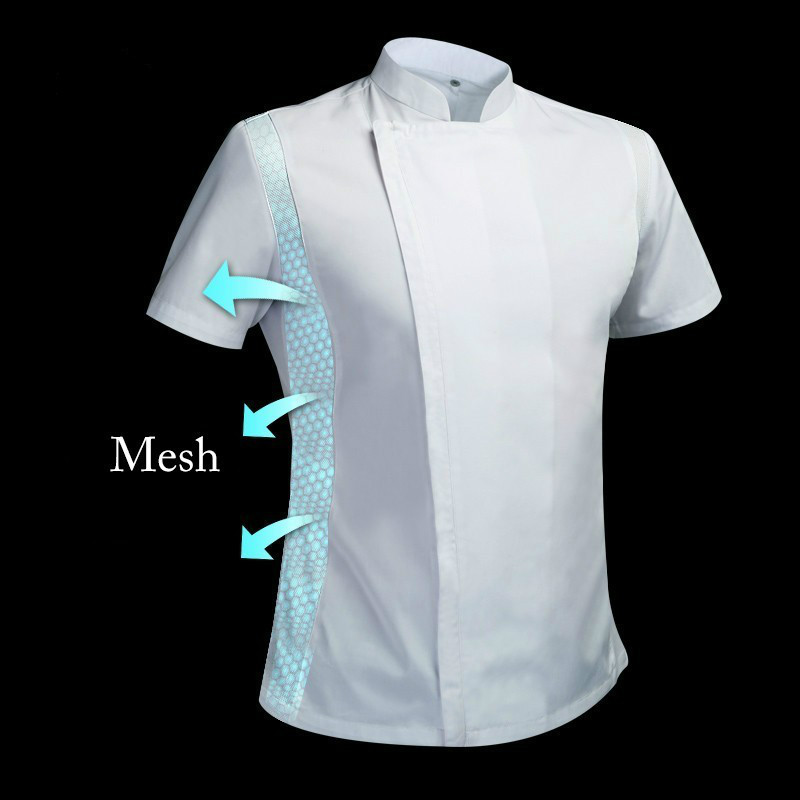 Unisex Adult High-end Breathable Chef Uniform Summer Kitchen Cooking Jacket Restaurant Hotel Cafe Barber Shop Waiter Work Shirt